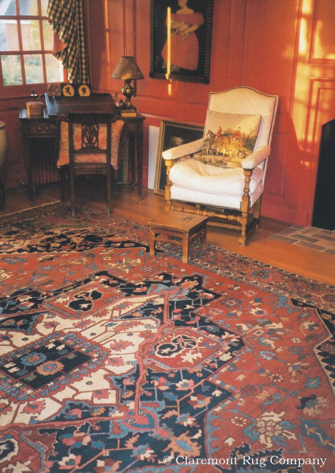 Persian Serapi antique rug in Washington D.C. historic colonial home
