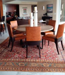 Persian Sultanabad Antique Rug in Traditional Miami Florida Condo Dining room
