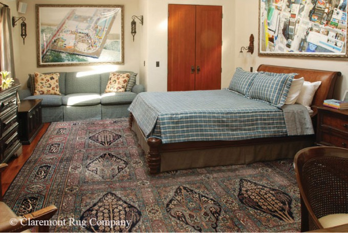 Contemporary Bedroom with antique persian Laver Kirman Rug