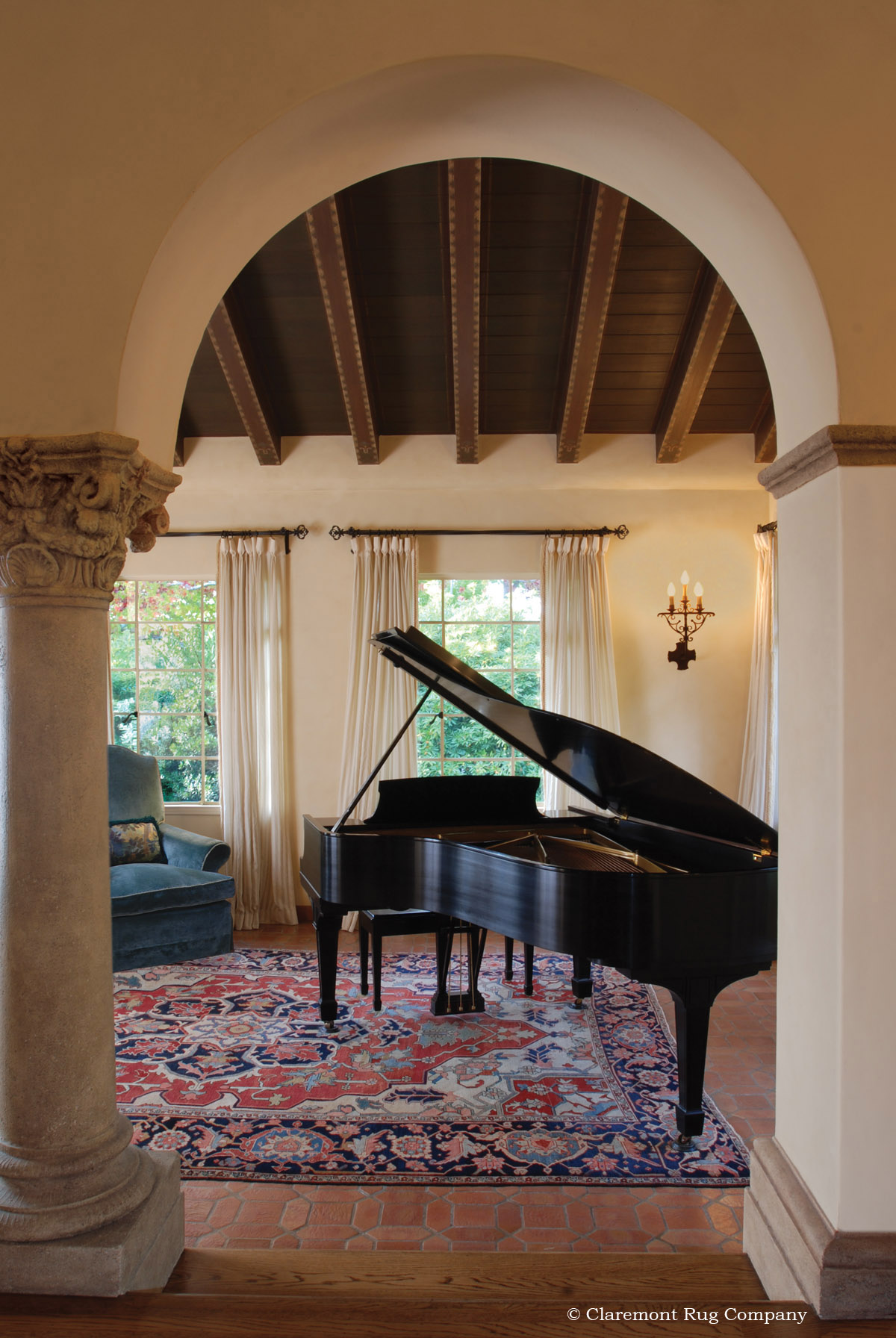 Eye Catching Antique Serapi Carpet In Distinguished Piano Room
