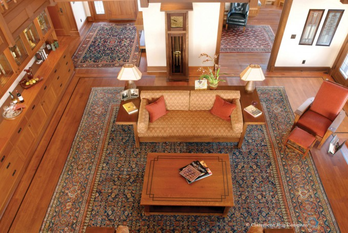A Suite of Antique Persian Oriental Village Collectible Carpets in an Arts and Crafts Home