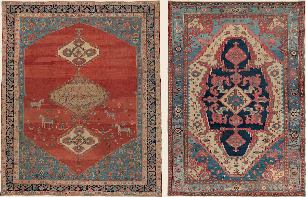 "Persian Bakshaish Camelhair ""Tree of Life"" design carpet with eccentric ""Bakshaish blue"" border, 3rd quarter, 19th century."