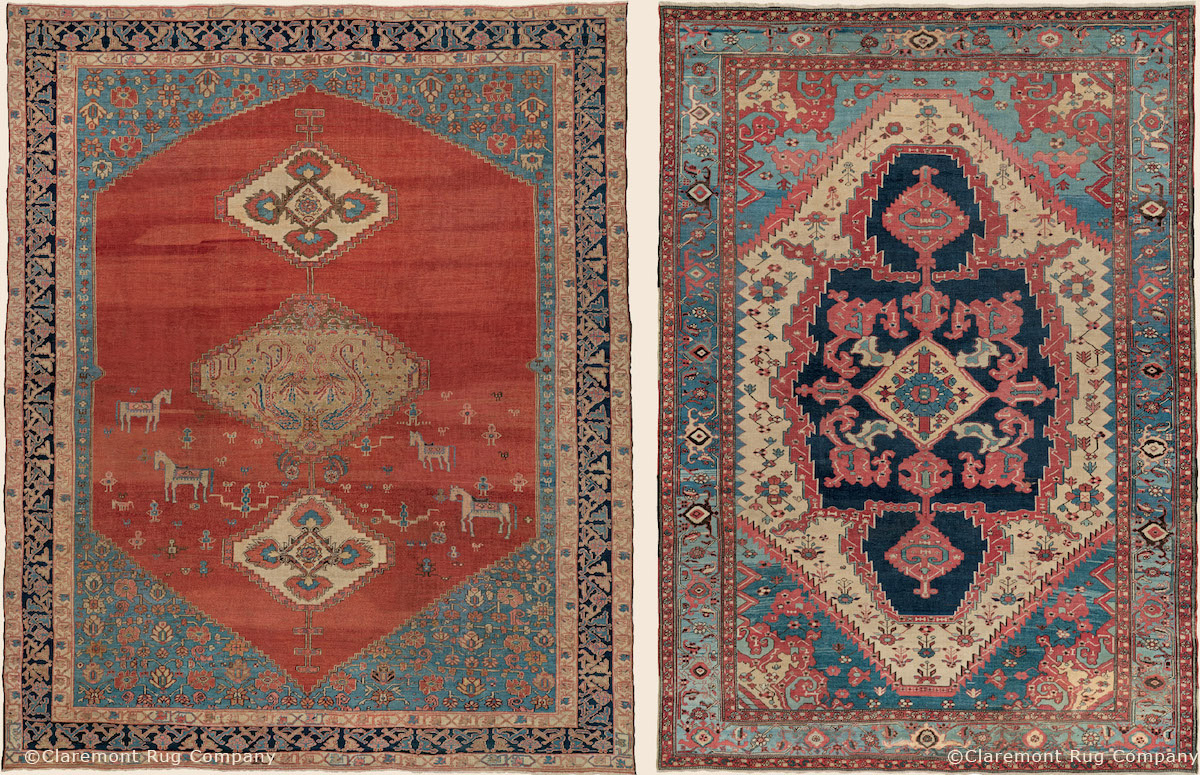 "Persian Bakshaish Camelhair ""Tree of Life"" design carpet with eccentric ""Bakshaish blue"" border, 3rd quarter, 19th century."