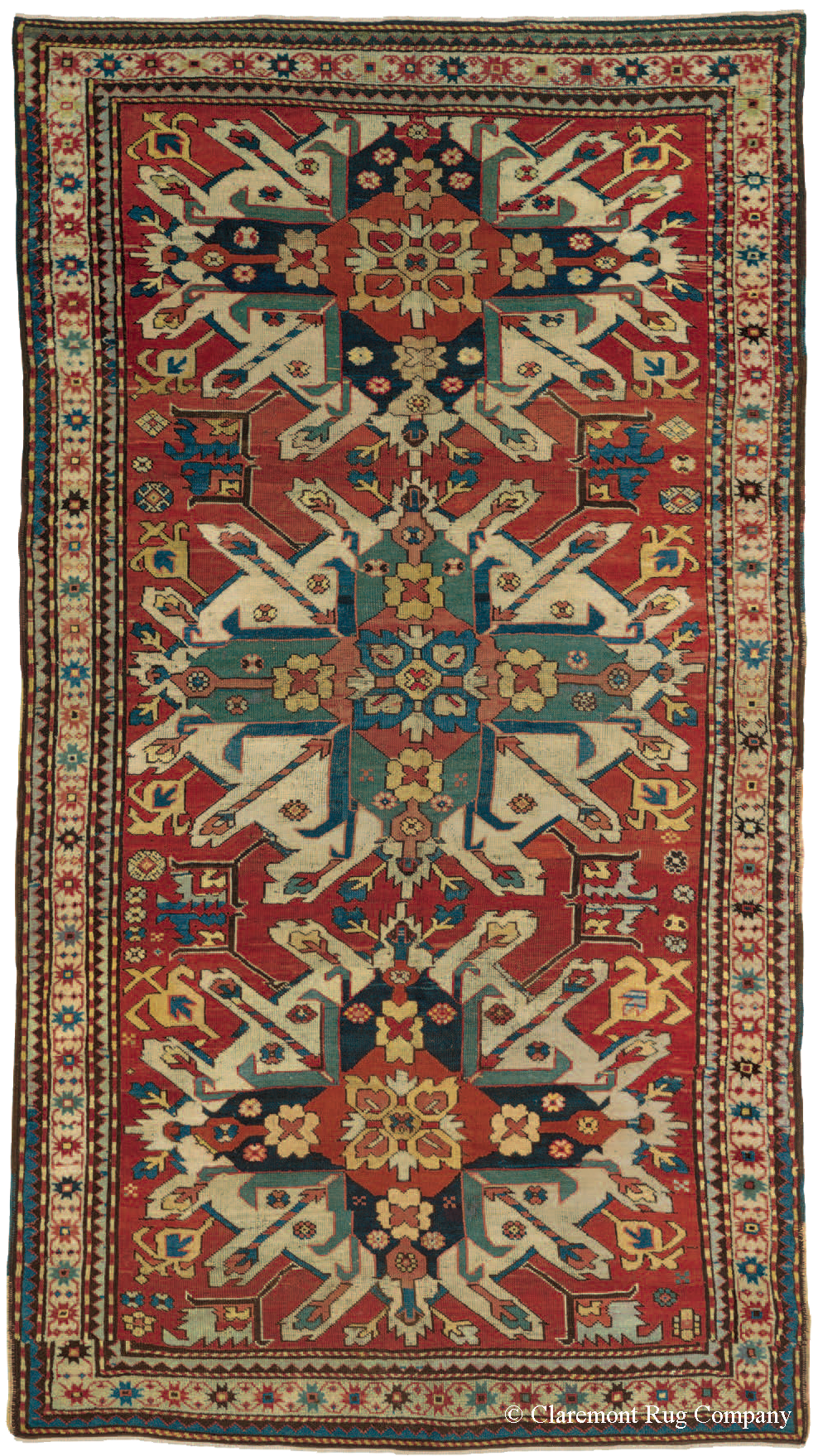 Extremely Rare Eagle Kazak Tribal Rug From Southern Caucasus Mountains
