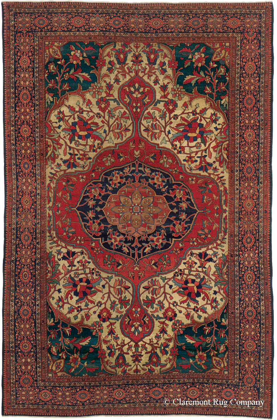 Ferahan Sarouk carpet with highly artful design and exotic color palette, late 19th century