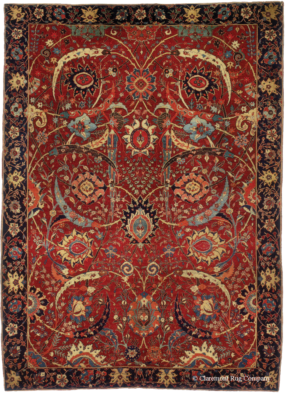 17th century Persian Sickle Leaf Kirman carpet sold at Sotheby's in June of 2013 for $33.8M (est. $5-$7M), the highest price ever paid in auction for an Oriental rug, more than three times the previous world record price