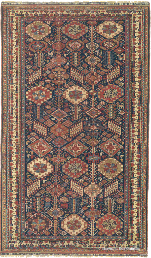 Click to learn more about this effusive Southwest Persian Qashqai 19th century antique rug