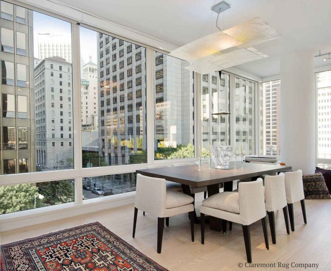 San Francisco Condo Modern Urban Dining room with Caucasian Lesghi Antique Rug