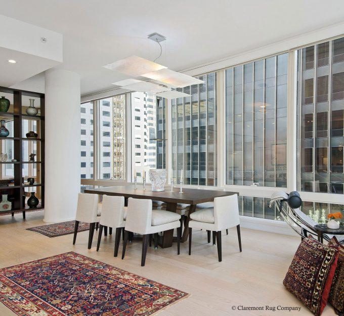 San-Francisco-modern-condo-with-antique-carpets-Diningroom-with-Bidjov-Caucasian-rugs