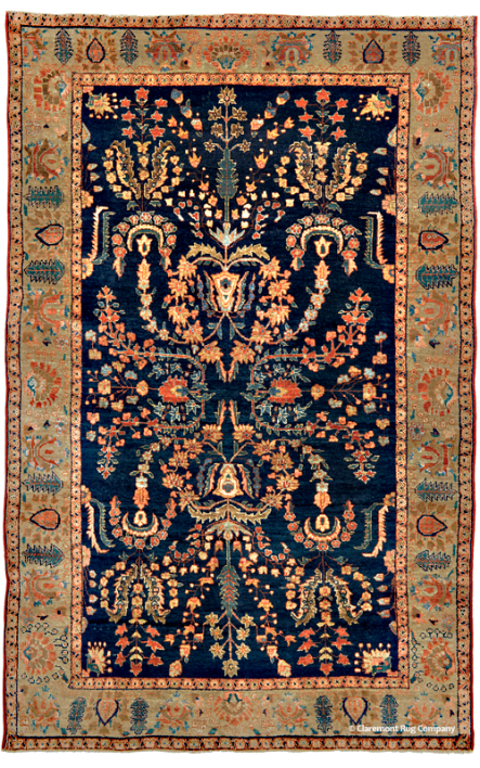 Antique Persian Sarouk,  4ft 2in by 6ft 5in, Circa 1900