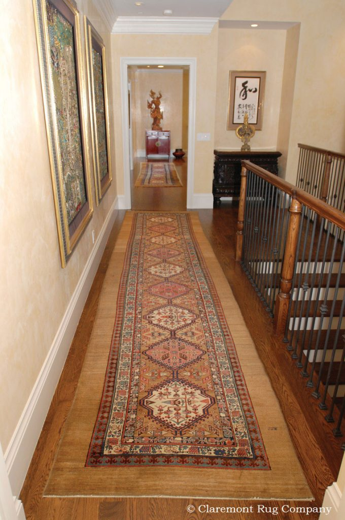 Serab-Camelhair-Antique-Rugs-in-Hallway-of-traditional-Silicon-Valley-Home