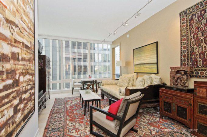 Serapi-Persian-Carpet-and-Caucasian-Antique-Rugs-in-Contemporary-San-Francisco-Condo-livingroom-