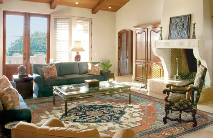 Oriental rug used in living room