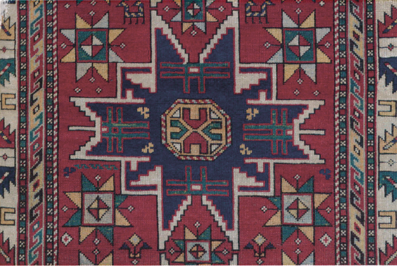 "The eight-pointed ""Star of Wisdom"" seen throughout Caucasian rugs depicts man's potential to develop understanding."