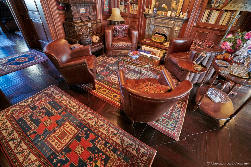 Client's Study with Kazak Rugs