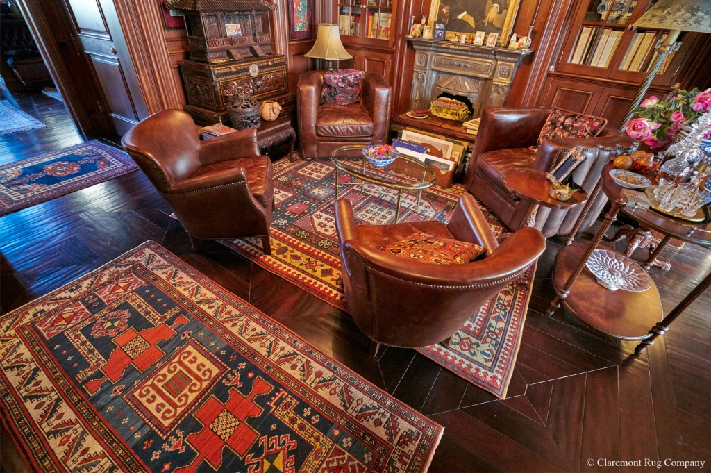 Exceptional Caucasian Karachov Kazak Rugs in a sitting room