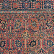 area size Tabriz antique Oriental rug with a trellis of blossoms and pomegranate and a willow tree border