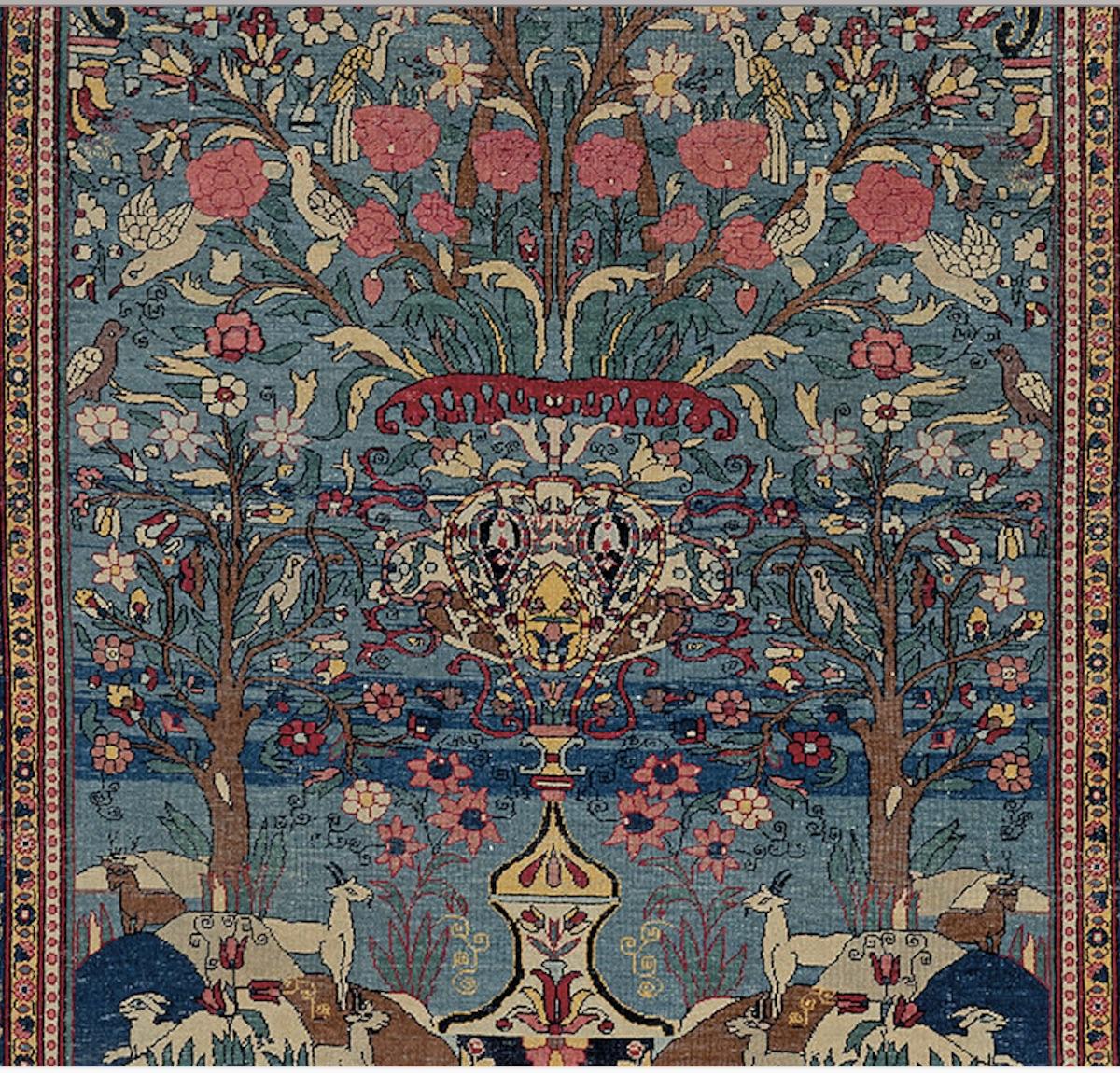 Persian Tehran Vase Rug, Circa 1875