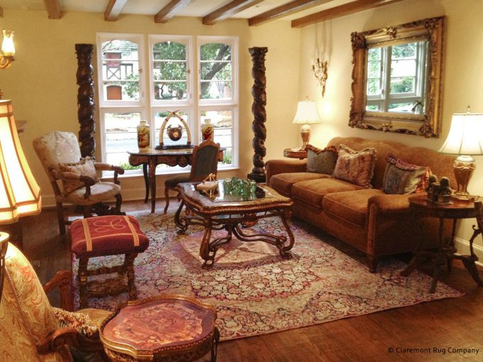 Traditional Dallas Living Room with Floral Laver Kirman Antique Rug