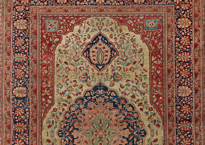 Antique Persian Rug in Traditional Library