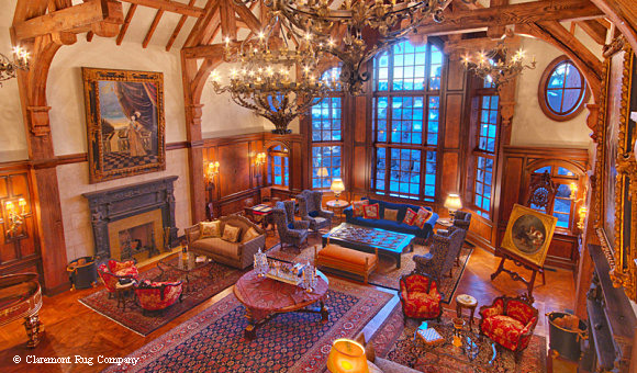 Breathtaking Wood-paneled Room with Antique Persian Rugs