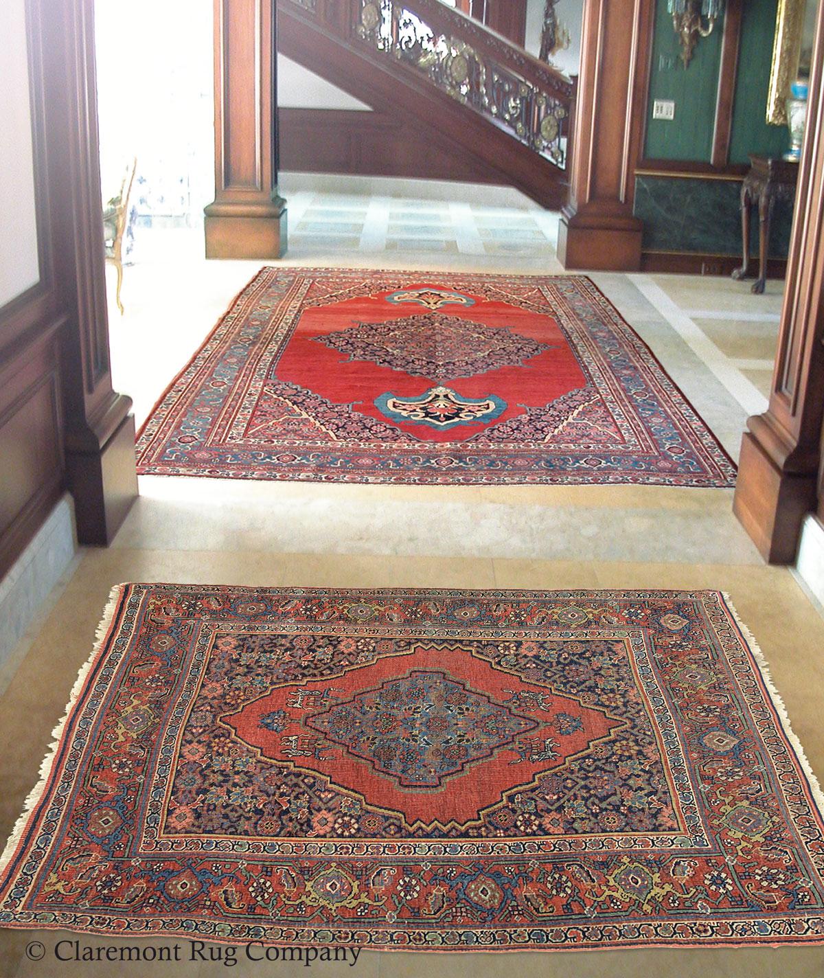 Bijar (Bidjar) Carpet Pair Fills A Formal Interior With