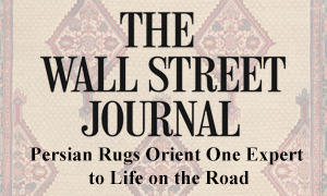 WSJ logo on Malayer camlehair antique rug