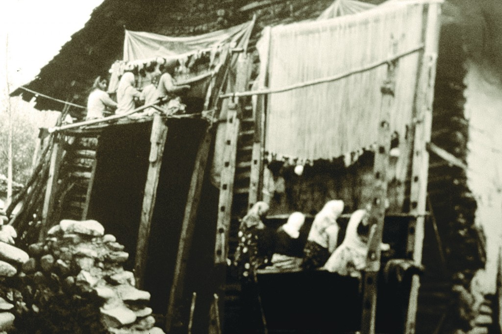 Weavers working on vertical loom Azerbaijan, circa 1900