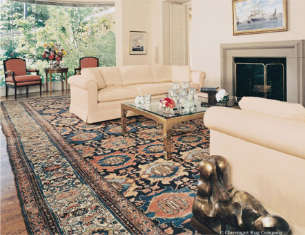 Antique Persian Malayer oversize carpet in a Client's Home