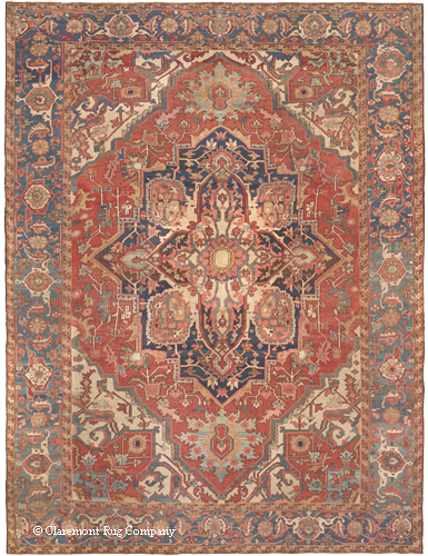 Persian Serapi, 3rd quarter, 19th century. In this exclusively naturally dyed carpet, note the tremendous amount of shading and many different hues of each color. Experience how each color is at once saturated and soft. As in the natural pigments used in Old Masters paintings, the colors have a glowing, translucent quality.