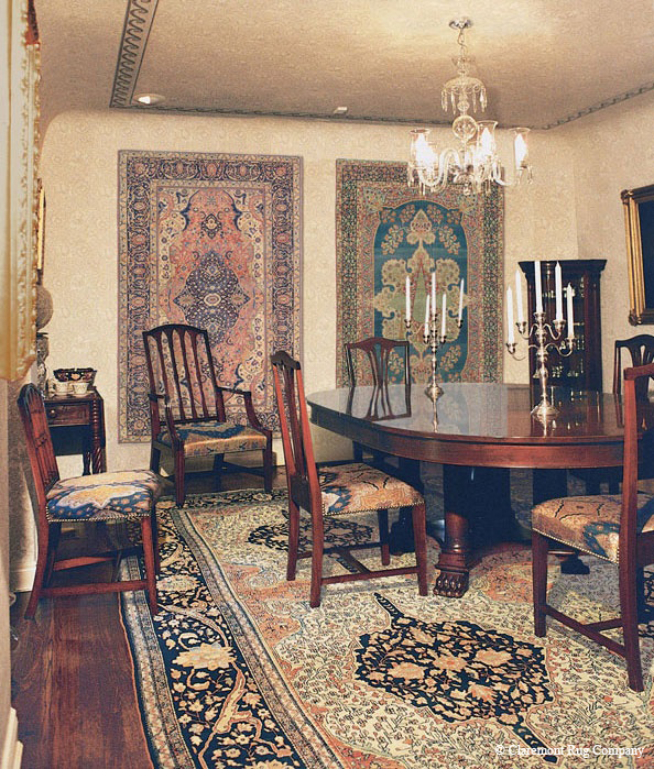 Central Persian Mohtasham Kashan Antique Rug In this historical farmhouse in the California countryside