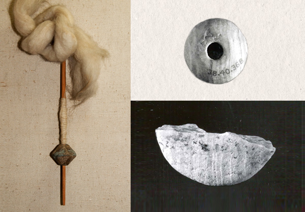 Spinning tools from the Parkhai II dig and a contemporary culture in Iran unearthed at the Depe-Chalow site.Left: Parkhai spindle with stone whorls.Right:Examples from the many stone whorls found at Depe-Chalow.