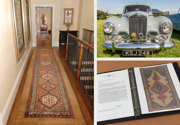 Left:Two High-Collector Serab Camelhair runners were chosen to lead the eye to the Indonesian statue at the end of this long hallway.Upper Right:British1955 Sunbeam Mk III, sports saloon.Lower Right:Claremont Rug Companyprovidesclients who build substantial rug collectionswith one or more archival albums.