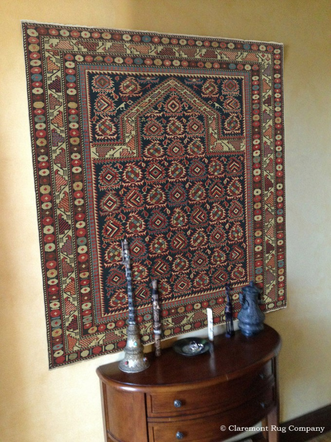 Antique Shirvan Rug is Stunning on Wall