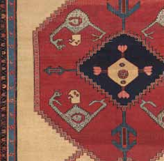 Detail from 200-year-old the Dragon and Phoenix Bakshaish carpet. From the collection of Jan David Winitz