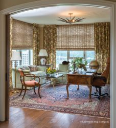 Houston, Texas Persian Ferahan sarouk antique tug in traditional city view home office