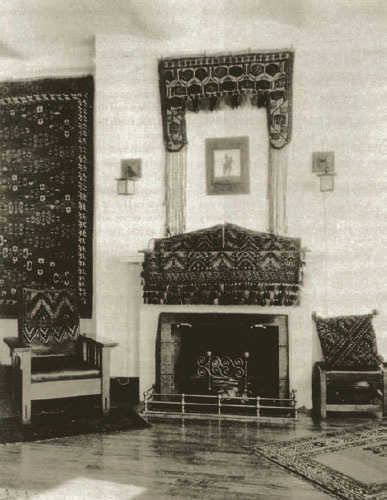 From top: Arthur Arwine's apartment at One Sheridan Square, bedecked with Turkmen tribal carpets and other weavings, circa 1930; Akstafa long rug. Caucasus. 19th century.