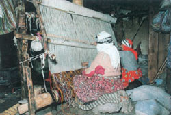 Turkish nomads weaving carpet
