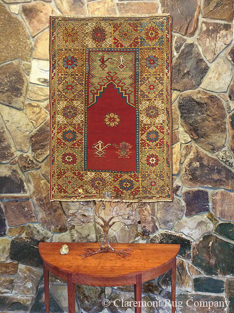 Turkish Bergama Prayer Carpet on Wall