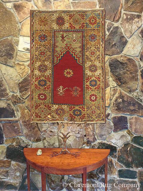 Turkish Bergama Prayer Carpet on Wall