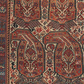 detail of antique arab khamseh rug