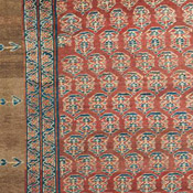 Detail of a Persian Bakshaish camelhair antique rug