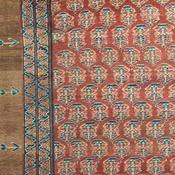 Detail of a Persian Bakshaish camelhair antique rug