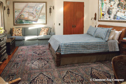 Part of a 25-piece WholeHome project, this onein-the-world 19th century Garden design Laver Kirman carpet affords intimate enjoyment of its artistry the traditional foundation of this contemporary bedroom. Designer: Staats & Co., Platner and Associates — www.platnerandassociates.com