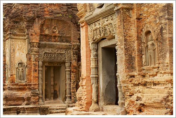 Wall carving at Preah Ko Temple in Siem Reap, Cambodia, circa 829 A.D.