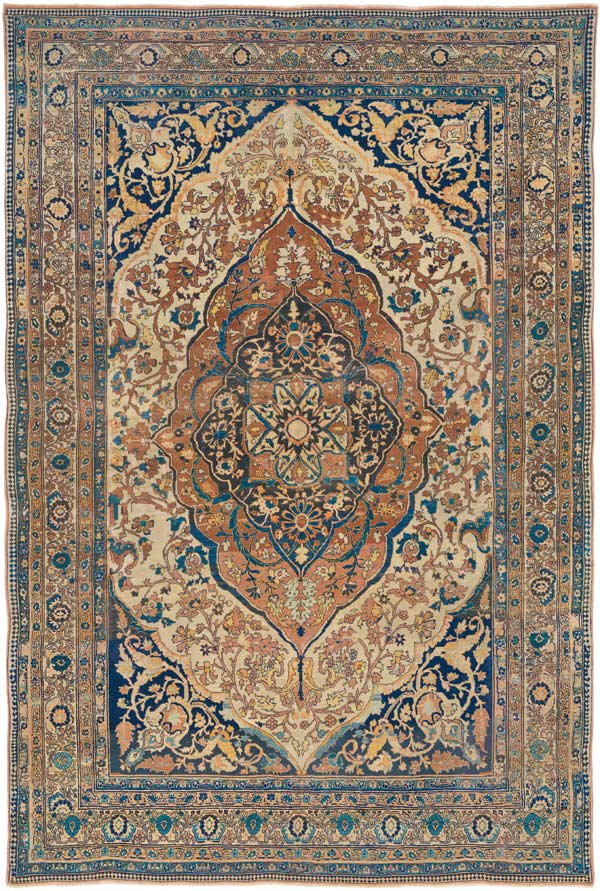 """This Hadji JalliliTabriz, circa1825, exemplifies how an Aesthete who would choose iffor its remarkable beauty, a Connoisseur for its mature artistry and inimitable craftsmanship, and a Pure Collector for its seminal color palette for this style and early age, all find it answering to their """"sweet spot""""."""