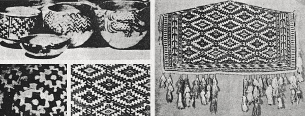 Top Left: Monochromatic potteryfound on the eastern side of the Caspian Sea. Bottom Left: Details of pottery, showing serrated cross pattern. Right: Complete piece, an asmalyk or decorative trapping for bride's wedding camel.