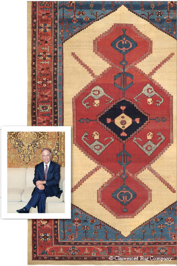 Claremont President Jan David Winitz and a Bakshaish rug