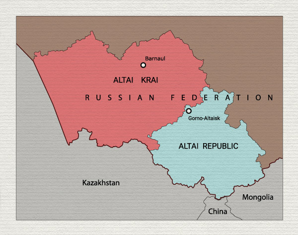 Pazyryk Valley, in present-day Altai Republic, just north of where the borders of the three countries meet.