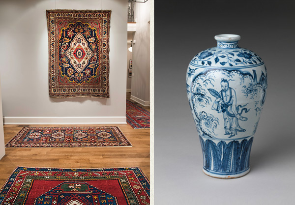 Left:Display of antique tribal rugs turns a passageway into an art gallery in this contemporary home.Right: 15th centuryVase in Meiping Shapefrom Ming Dynasty that produced ceramics which today are the most sought-after internationally.